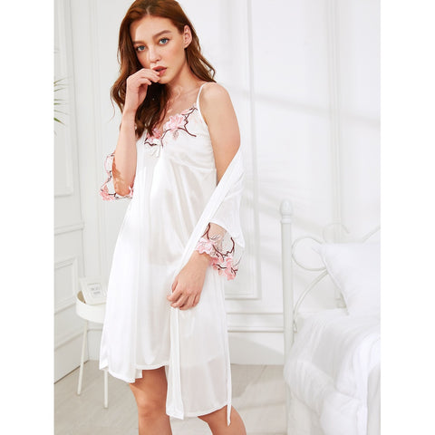 Floral Embroidered Cami Dress With Robe