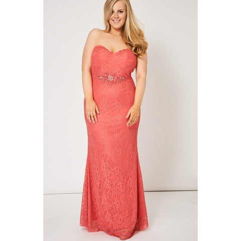 Coral Pink Beaded Lace Strapless Maxi Prom Dress