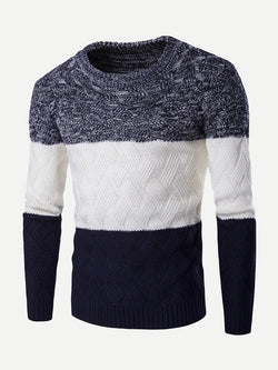 Men Color Block Pattern Contrast Jumper
