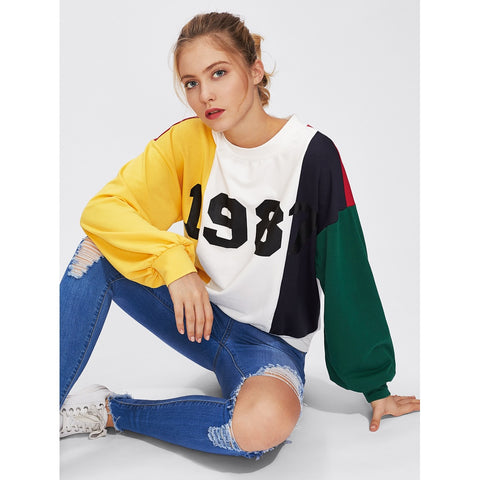 Drop Shoulder Cut And Sew Printed Sweatshirt