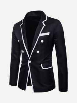 Men Contrast Trim Single Button Blazer