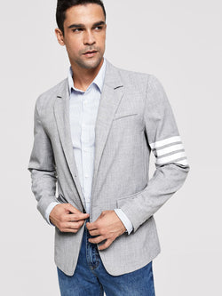 Men Button & Pocket Front Notched Neck Blazer