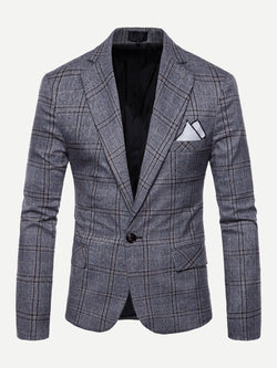Men Plaid Single Button Blazer