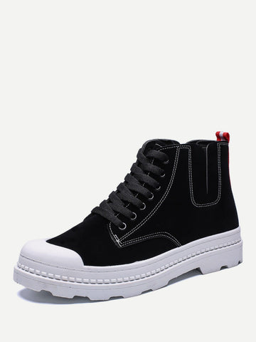 Men Lace Up Cap Toe Sneakers