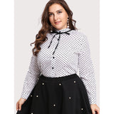 Frill Trim Bow Tie Detail Spot Shirt