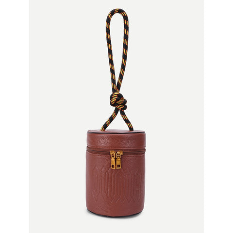 Double Zipper Design PU Bucket Bag