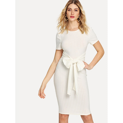Bow Tie Front Rib Knit Dress