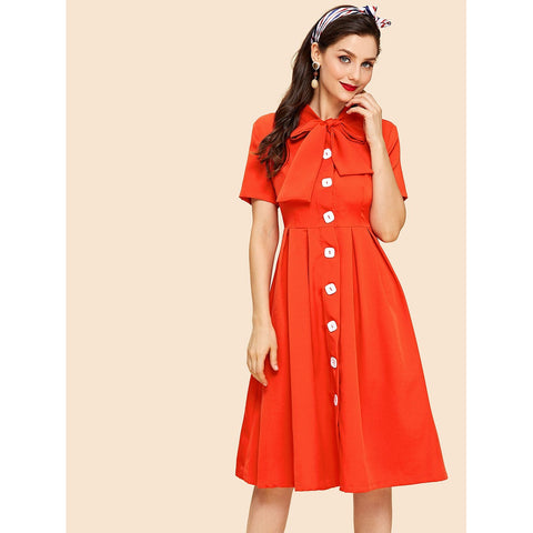 Bow Tie Neck Button Up Fit & Flared Dress