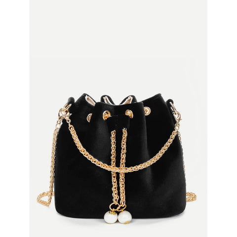 Chain Detail Velvet Bucket Bag