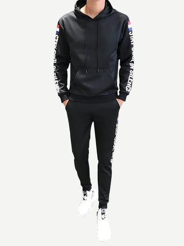 Men Letter Print Hoodie With Pants