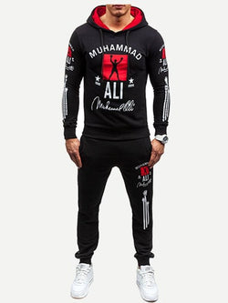Men Letter Print Hoodie With Drawstring Pants