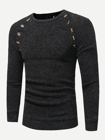 Men Button Detail Solid Sweater