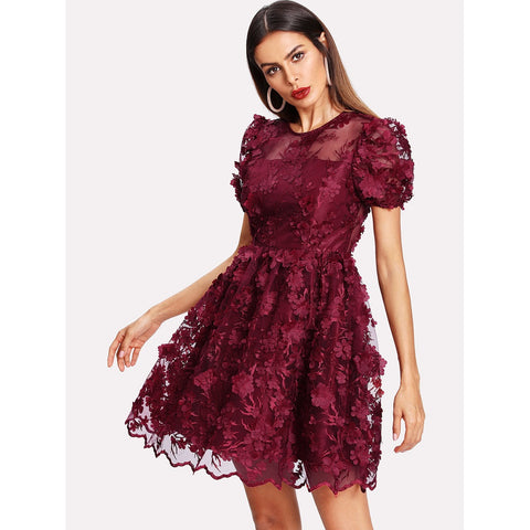 Floral Applique Puff Sleeve Mesh Overlay Dress