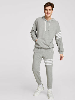 Men Pocket Front Striped Hoodie and Sweatpants Set