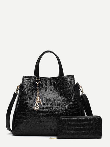 Crocodile Pattern Tote Bag With Purse