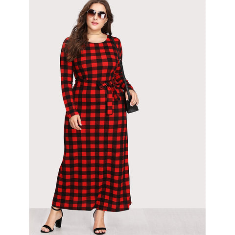 Check Plaid Full Length Dress
