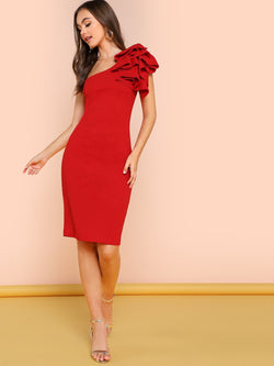 One Shoulder Ruffle Skinny Dress