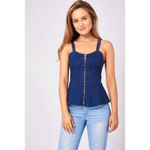 Denim Zip Front Bustier Top In Indigo