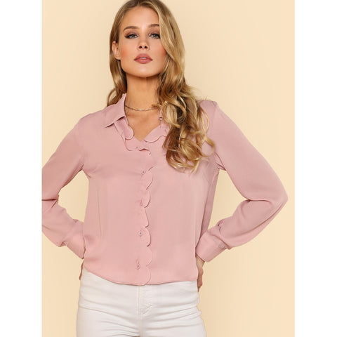 Button Up Scallop Placket Blouse