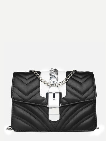 Chevron Detail Chain Bag