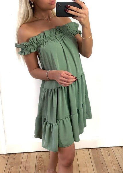 Anasha grøn off-shoulder kjole