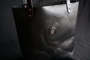 Leather Tote with Crass Badge