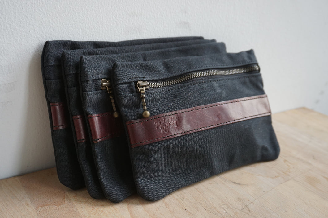 Waxed canvas tool pouch