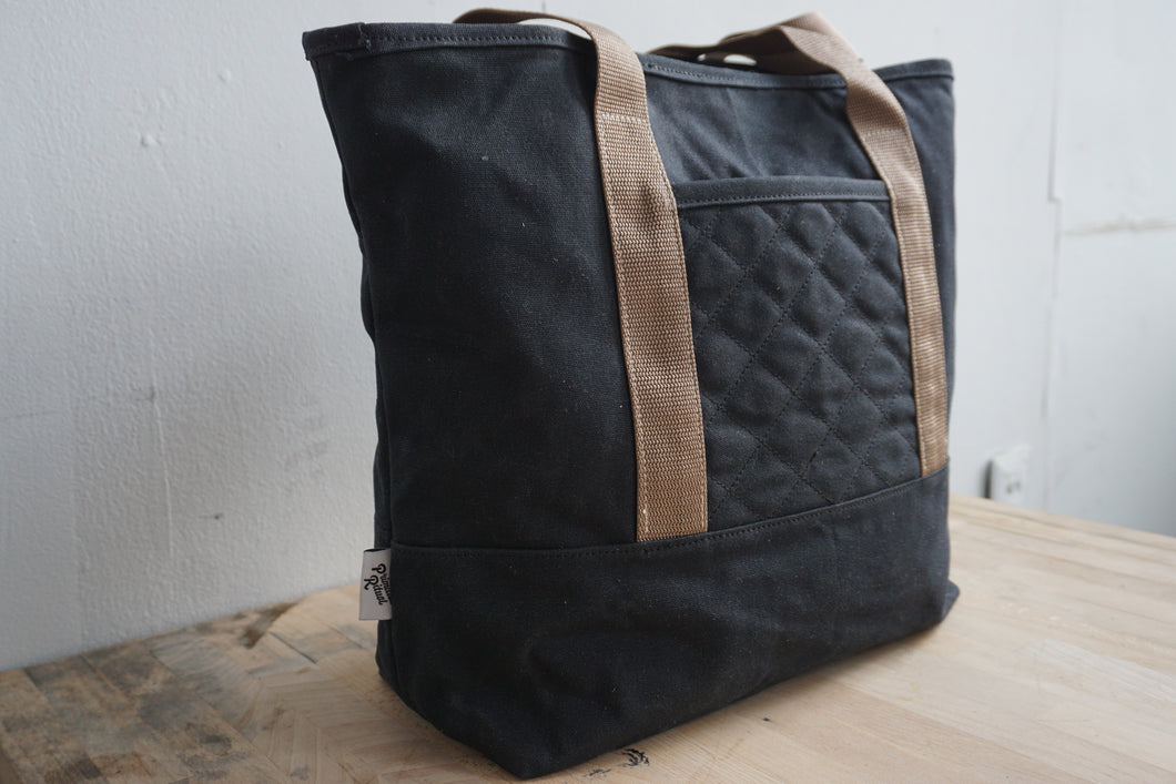 Handmade waxed canvas tote bag new england