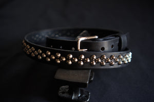 Leather goth belt with three rows of small cone studs