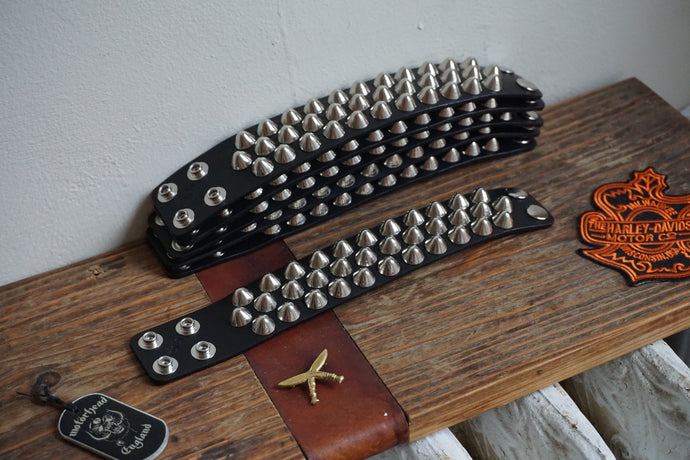 Studded leather punk bracelet 77 studs