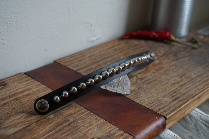 Studded leather punk bracelet 77
