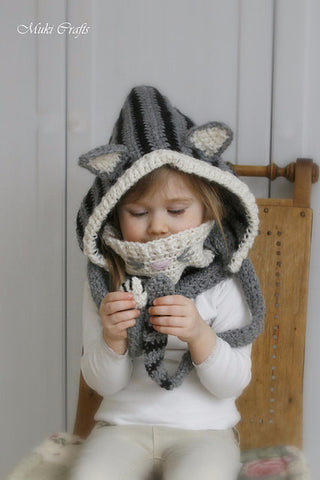 Crochet pattern cat hood and cowl set Misty