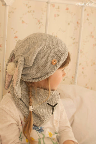 Knitting pattern bunny hat and cowl set rabbit Gigi