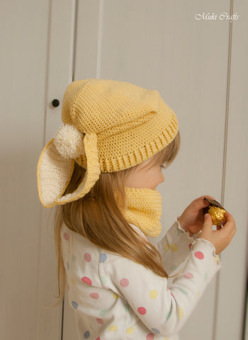 Crochet pattern bunny slouch hat and cowl set Gemma