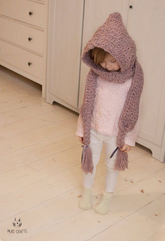 Crochet pattern hooded scarf Annabel