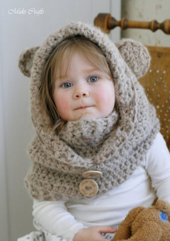 Crochet pattern bear hooded cowl Jacob