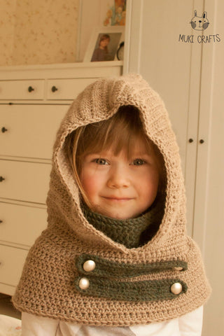 Crochet pattern hooded cowl Cole