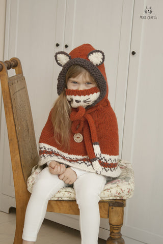 Knitting pattern hooded fox poncho Lexi