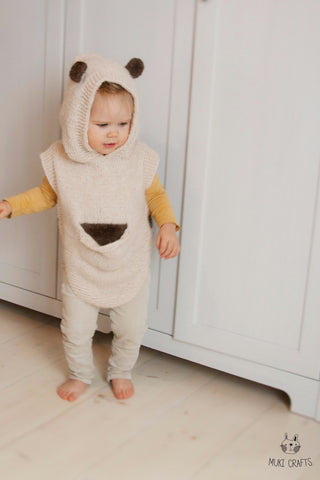 Knitting pattern baby bear hooded poncho Sören