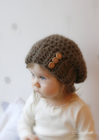Crochet pattern basic slouchy hat Addison