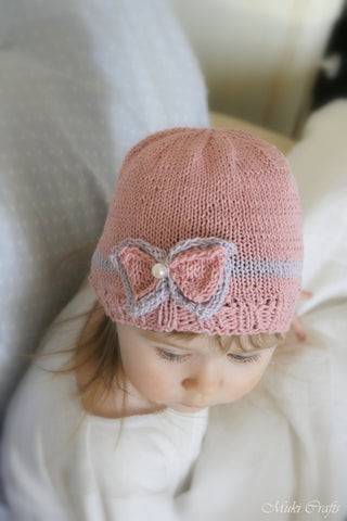 Knitting pattern beanie bow hat Zoe