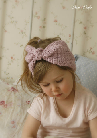 Crochet pattern bow headband Eileen