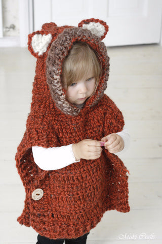 Crochet pattern fox Max hooded poncho