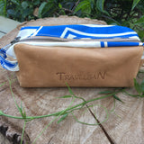 Windsurfing sail and leather wash bag