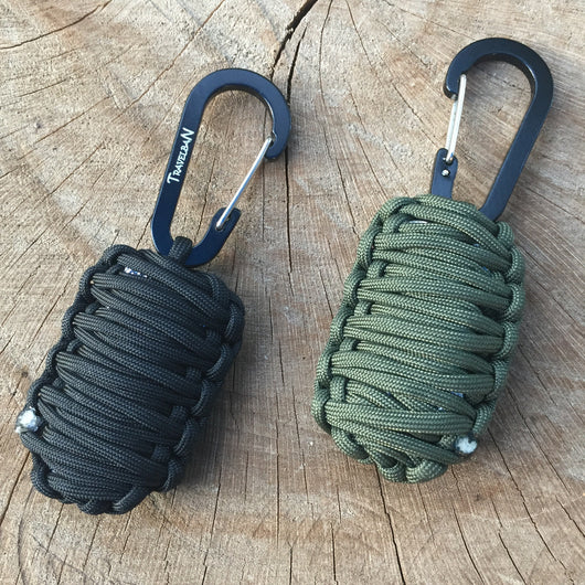 The Paracord Grenade - clip-on survival kit