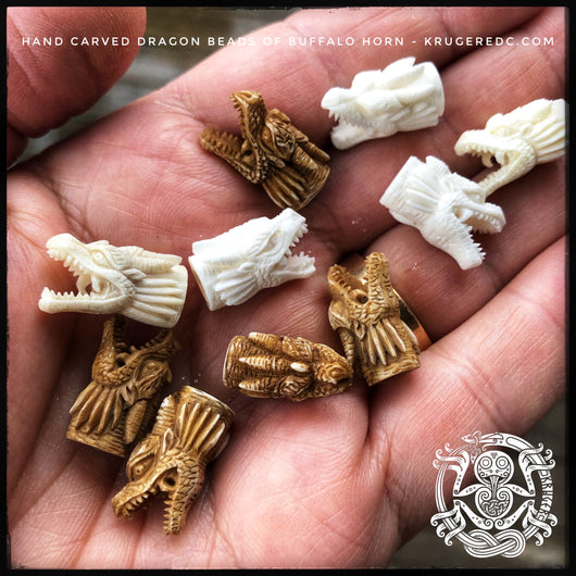 Handcarved buffalo bone dragon beads