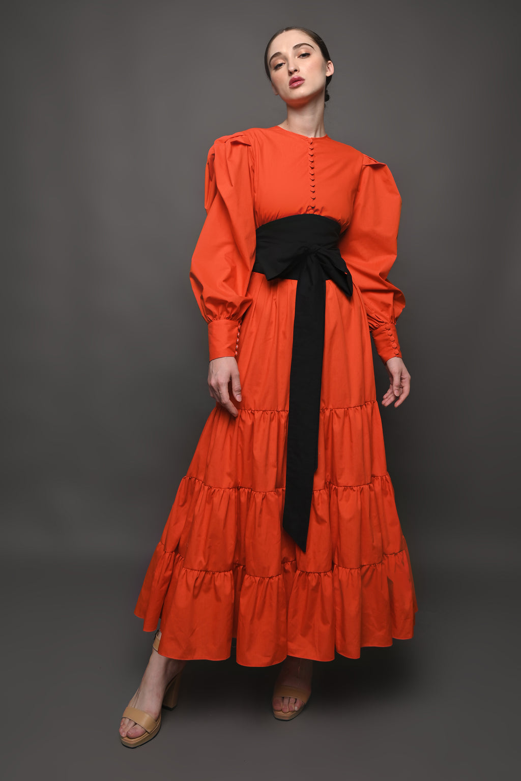 Ayoka Dress in Red Orange