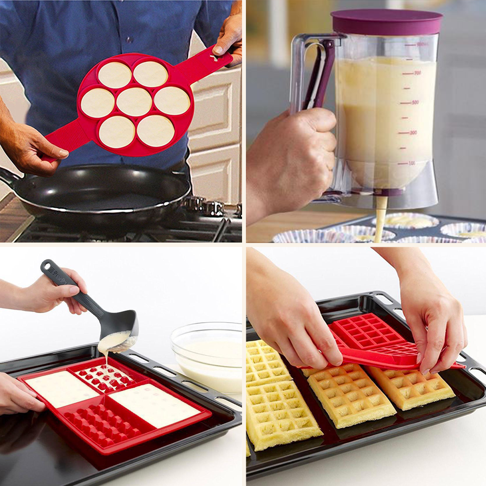 The Pancake Flipper, Waffle Mold and Easy Batter Dispenser Set
