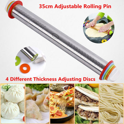 Stainless Steel Adjustable Depth Rolling Pin