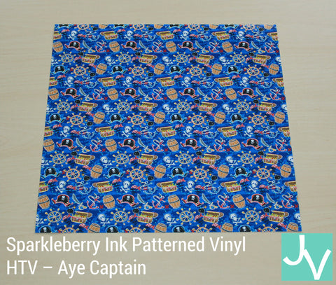 JamakVinyl - Sparkleberry Patterned Heat Transfer Vinyl Aye Captain Spakleberry Ink